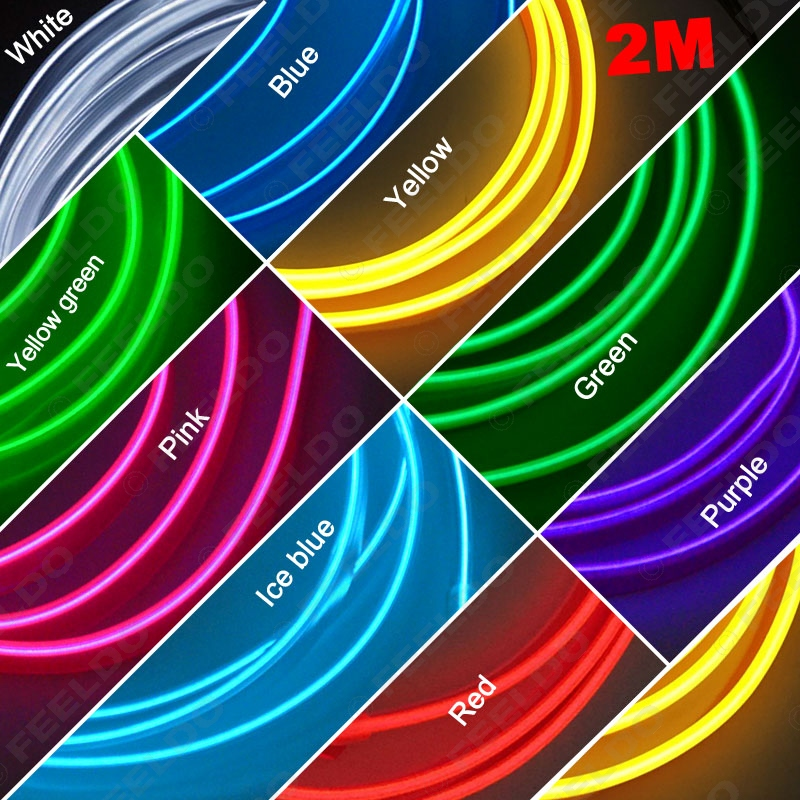 100Pcs 2M 9-Color Flexible Moulding EL Neon Glow Lighting Rope Strip With Fin For Car Decoration #FD-3268(China (Mainland))