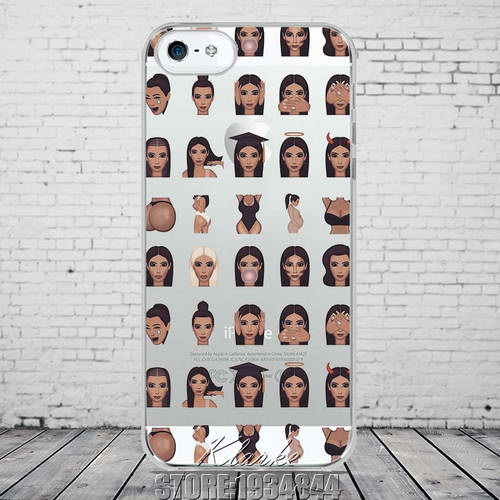 Funny Face Kimoji Kim Kardashian Phone Case Cover For iphone 5 5S Ultrathin Soft TPU Clear