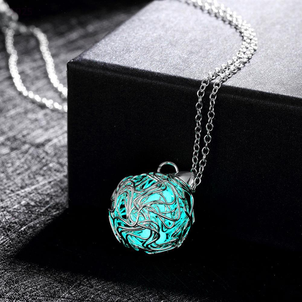 Fashion Luminous engagement silver Pendant Necklace Fluorescent Stone Hollow cheap Glow In The Dark For Women Night Light(China (Mainland))