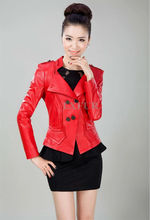 Elegant Womens Genuine Sheep Leather Slim Jackets Turn-down Collar Fashion Real Leather Short Coats LX00464(China (Mainland))