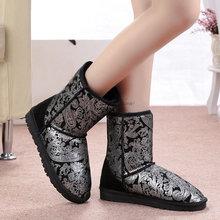 2016 Australia botas de Invierno de La Venta caliente de Plata de Oro impermeable de Piel de Las Mujeres Bota de la Nieve Botas Zapatos con Cuero Genuino para Las Mujeres ugi(China (Mainland))