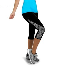 2015 Women Running Sports Fitness Gym Capri 3 4 Pants Floral Printed Exercise Bottoms Joggers Workout