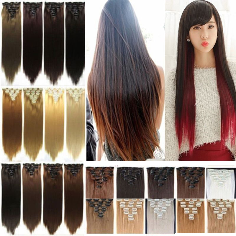 """23"""" 26"""" Straight 7+1pcs Full Head Hair Extensions Clip in Hair Extension 18 Clips on Hair Piece 100% Real Natural Synthetic Hair(China (Mainland))"""