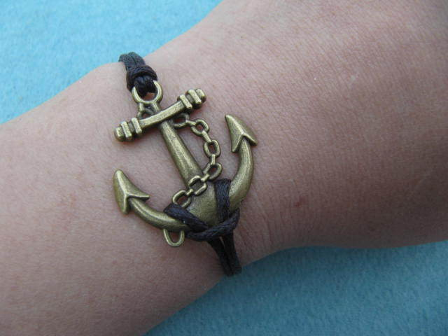 Anchor Bracelet,Personalized Antique Bronze Charm Bracelet,Leather Bracelet,Best Chosen Gift - handmadeforyou's store