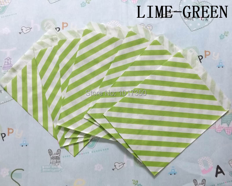 Free Shipping lime green Striped Treat Craft Bags Favor Food Paper Bags Party Wedding Birthday Decoration 50pcs(China (Mainland))