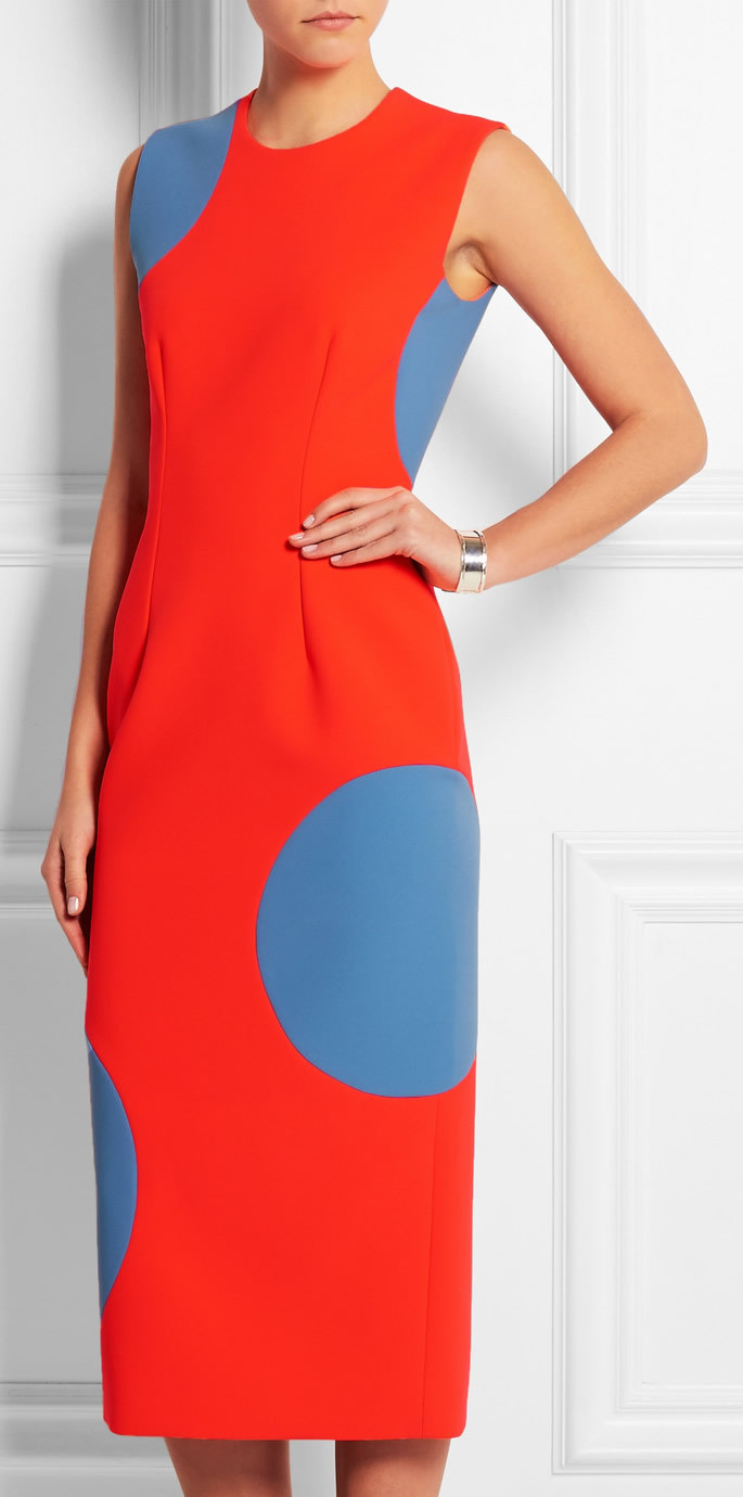 Polka-Dot Print Women Sheath Dress Round Neck Runway Dresses 15063855Одежда и ак�е��уары<br><br><br>Aliexpress