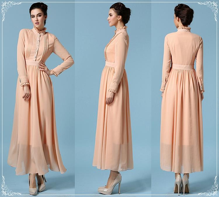 2016 весной женщины старинные ретро оборки воротник стойка империи с длинными рукавами полный платья женский морщин шифона Vestidos розовый