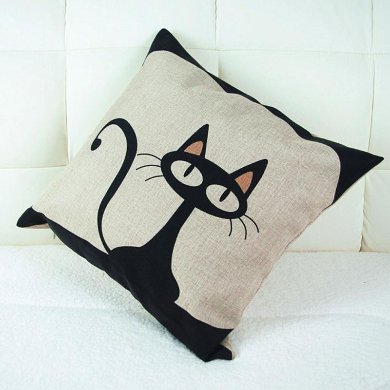 Vintage Style Cat Patterns Cotton Linen Pillow Case Sofa Throw Cushion Cover Square Home Bed Decor