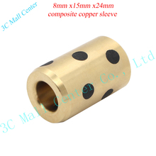 DIY 3d printer parts 8mm x15mm x24mm bearing self-lubricating oilless bearing composite copper sleeve for 8mm linear shaft