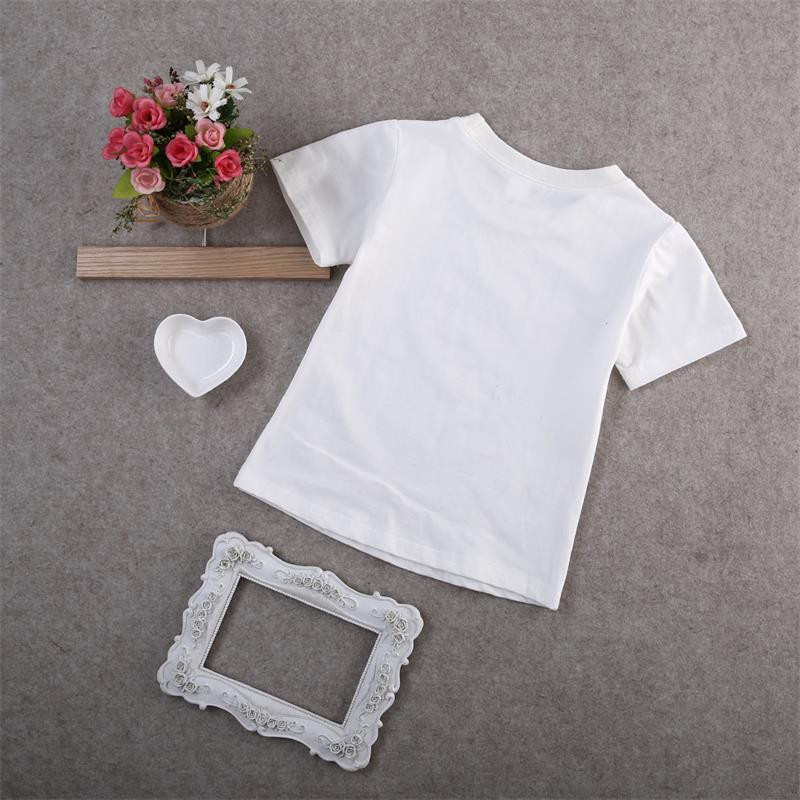 summer tops 2016 wholesale cute baby girl toddler kids short sleeve letter printed tops casual clothing blouse 1-6Year