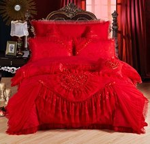 Red pink Jacquard wedding bedding sets 4/6/9pcs queen king size duvet cover set lace luxury bedlinen bedspread(China)