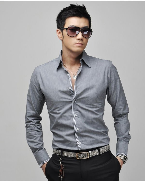 Новая Мужская случайный тонкий подходят стильные рубашки нам 3size xs, s, m, 3colours серый, синий, белый, розовый 6059
