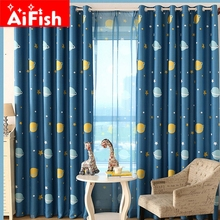 Children's Room Cartoon Space Planets Full of Blackout Cloth curtains for Children Bedroom Finished Custom Sheer Set AP355-15(China (Mainland))