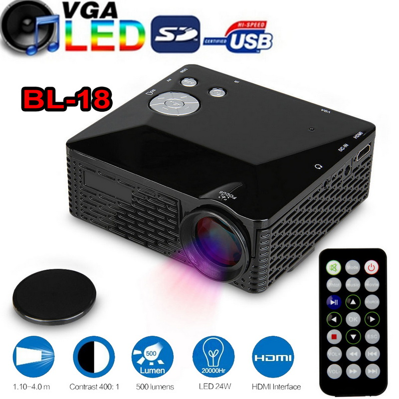 Digital mini led projector bl 18 lcd 500 lumen portable for Led pocket projector review