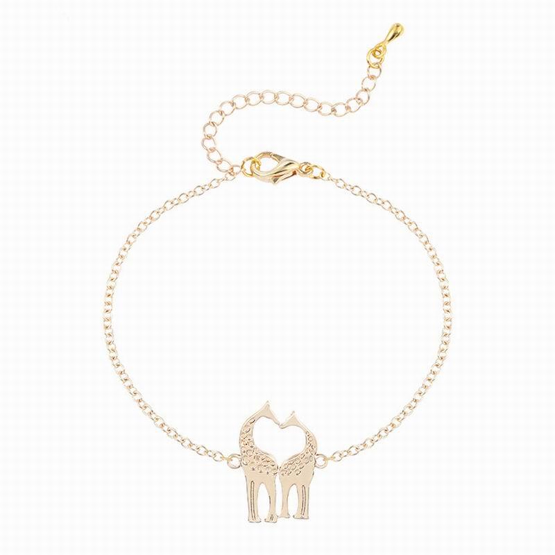 1PCS Fashion Cute Animal Couple Giraffes Bracelets Jewelry lovely Twin Giraffe Deer Bracelet Heart Bangle Hand Bracelet WB179(China (Mainland))