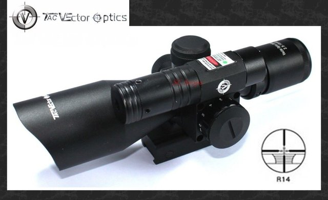 Vector Optics Sideswipe 2.5-10x40 E Compact Green Laser Rifle Scope with Quick Release QD Weaver Mount Base