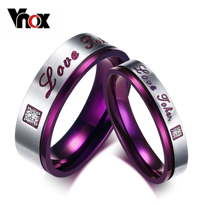 Fashion Love Token Rings For Women Men Wedding Engagement 4mm and 6mm Ring Stainless Steel Purple Color(China (Mainland))