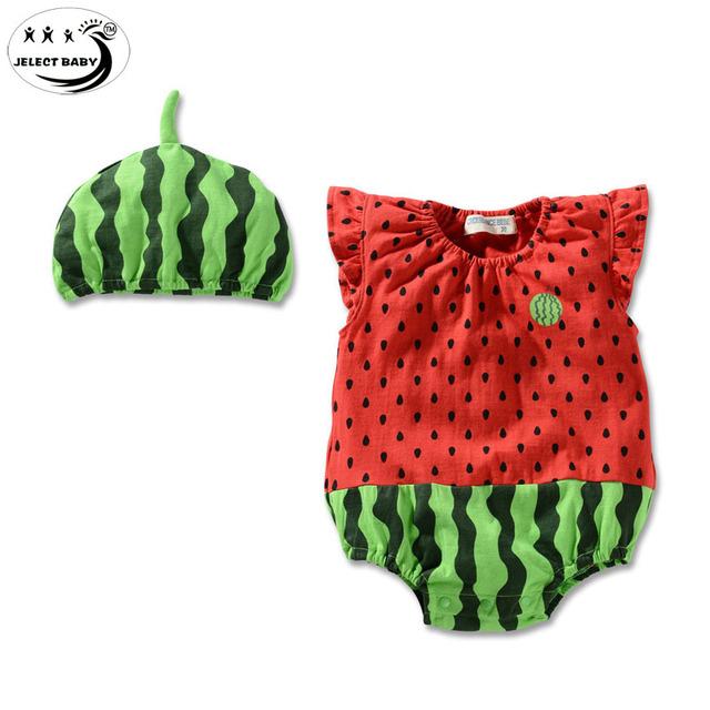 Тело костюм без рукавов в шляпе детская одежда арбуз форма Bebes одежды треугольник ...