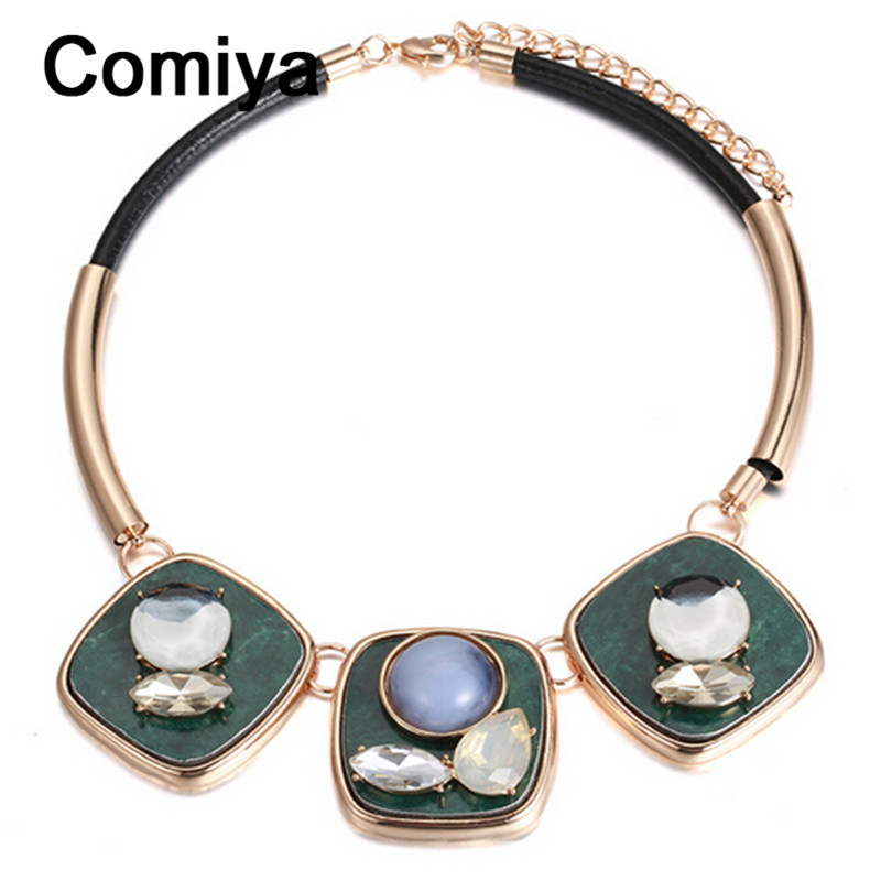 Comiya square shape blue simulated gemstone necklaces & pendants steel pipe golden plated zinc alloy necklace fashion leather(China (Mainland))