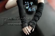 Women Sexy Black Lace Arm Sleeves Knitting Arm Warmers For Spring Bowknot Arm Cuff Elbow Length Arm Cover(China (Mainland))