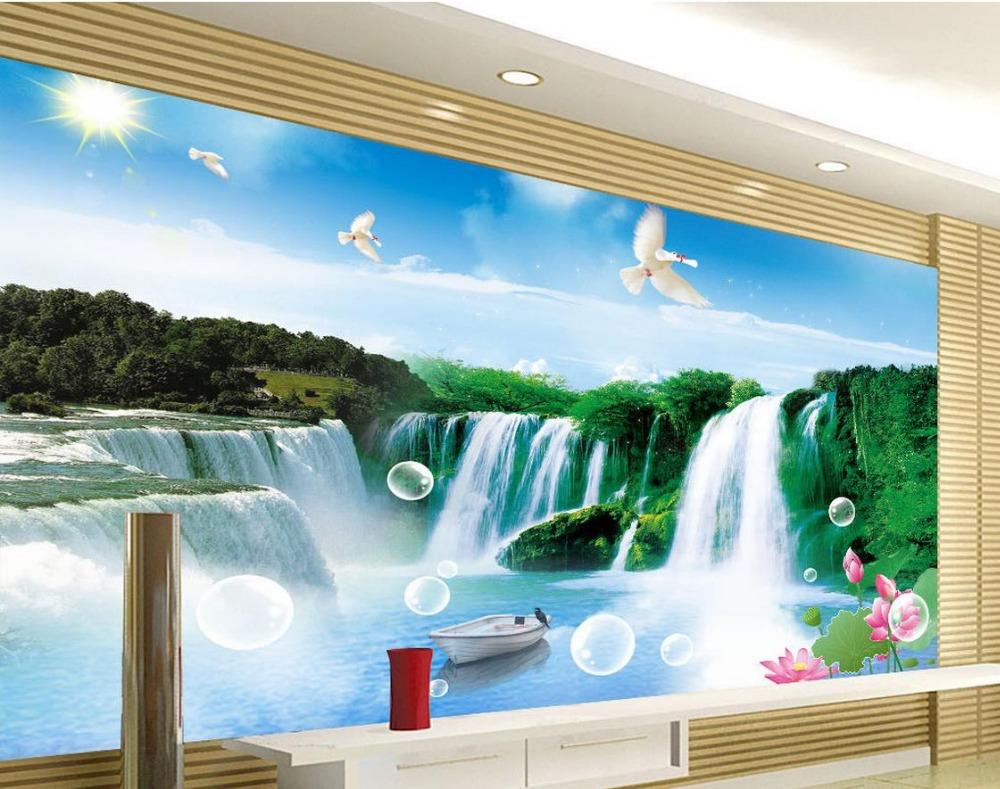 Buy Tv Backdrop Landscape Water Falls 3d Room Wallpaper Landscape 3d
