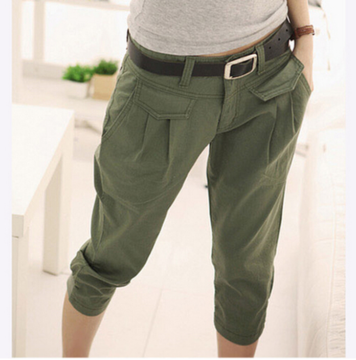 Popular New Women Linen Pants Seven Trousers Loose Casual Elastic Waist Casual