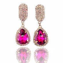 2016 TOP crystal gold earrings for women rhinestone luxury sapphire-jewelry bridal wedding pendientes accessories orecchini E005