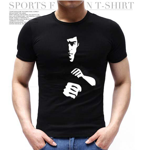 Famous Kongfu Figure Costume Bruce Lee t shirt Men Unique Design Short Sleeve Vintage Men Sport t-shirts top tee camisetas(China (Mainland))