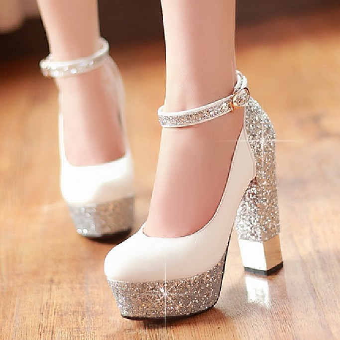 Women Shoes Thick Heel White Bridesmaid Red Wedding Shoes