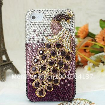 Special Bling Peacock Diamond Metal Crystal For Apple iPhone 5 5G Case Cover