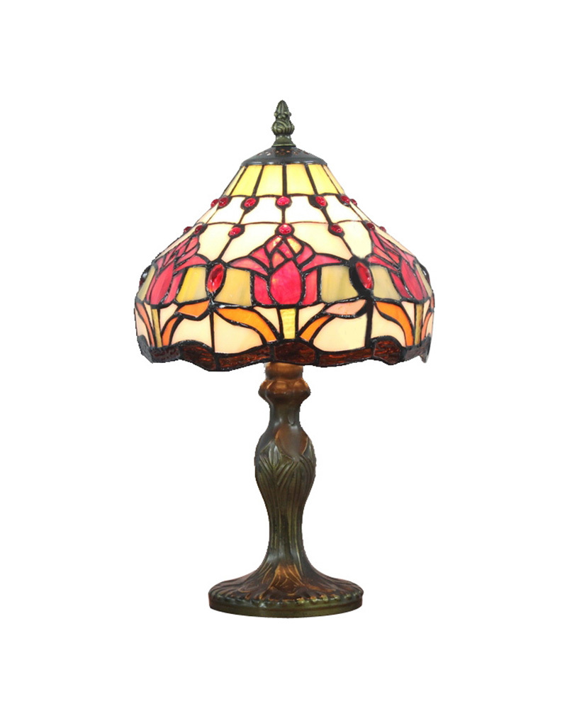 ems free tiffany style table lamps rose design stained. Black Bedroom Furniture Sets. Home Design Ideas