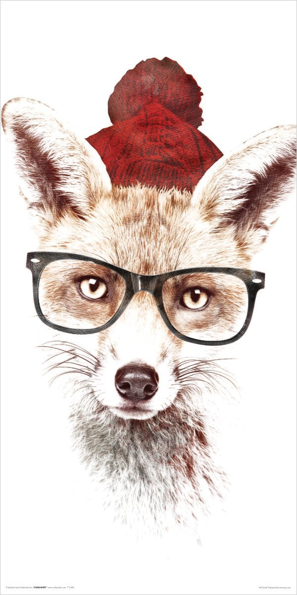Robert Farkas Hipster Fox Modern Contemporary Animal Lifestyle Decorative Art Poster Print 24x48 inch Art Silk Poster home Decor