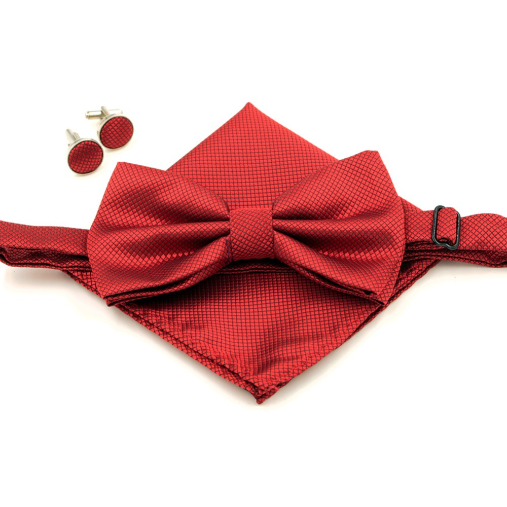 5 Colors Fashion Men's Bowtie Hanky Cufflinks Set Plaid Bow tie Handkerchief Grid Butterfly Wedding Party Gift(China (Mainland))