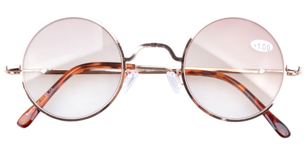 R1503 Tinted Lens Spring Hinges Retro Round Reading Glasses Sun Readers(China (Mainland))