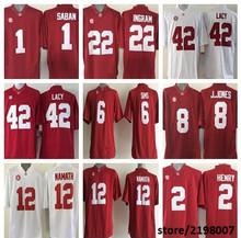 Alabama Crimson Tide 1 Nick Saban 8 Julio Jones 12 Joe Namath 42 Eddie Lacy White/Red College Football Jersey(China (Mainland))