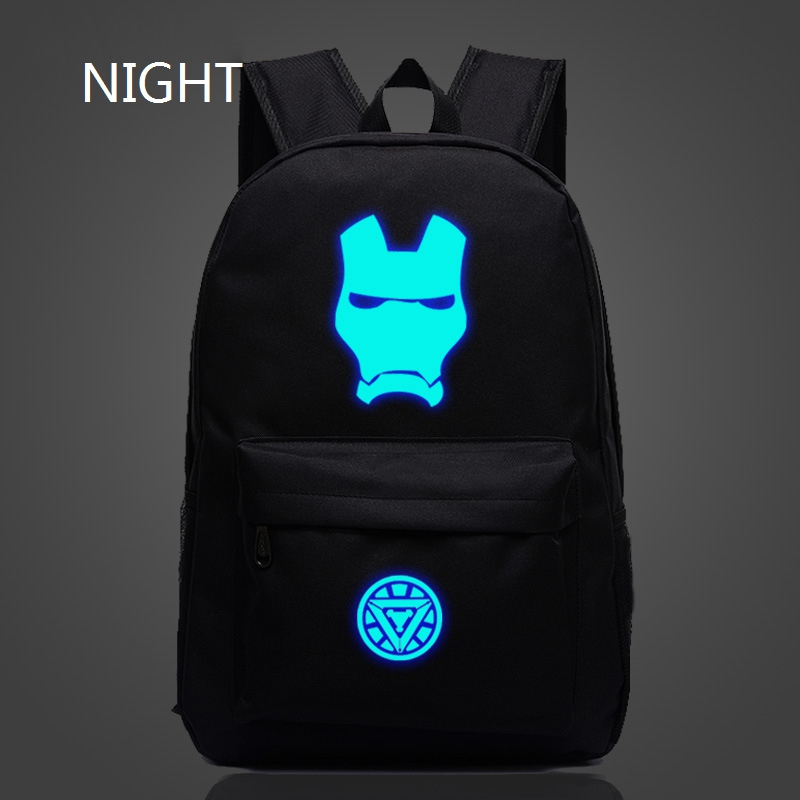 2016 New Fashion Super Hero Iron Man Backpack Luminous Unisex Schoolbags For Teenager Book Bag Marvel Avengers Backpack Kid Gift(China (Mainland))