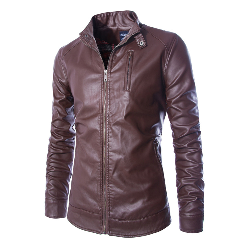 Men Stand Collar Jacket New Autumn Men's Locomotive Style cappotto Mens Slim Fit PU Leather Jackets and Coats Black Brown(China (Mainland))