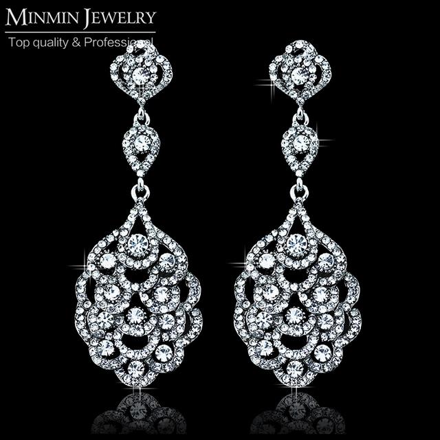 2015 лето роскошный серебряный кристалл люкс длинные серьги свадебные украшения белый позолоченные серьги для женщин EH188