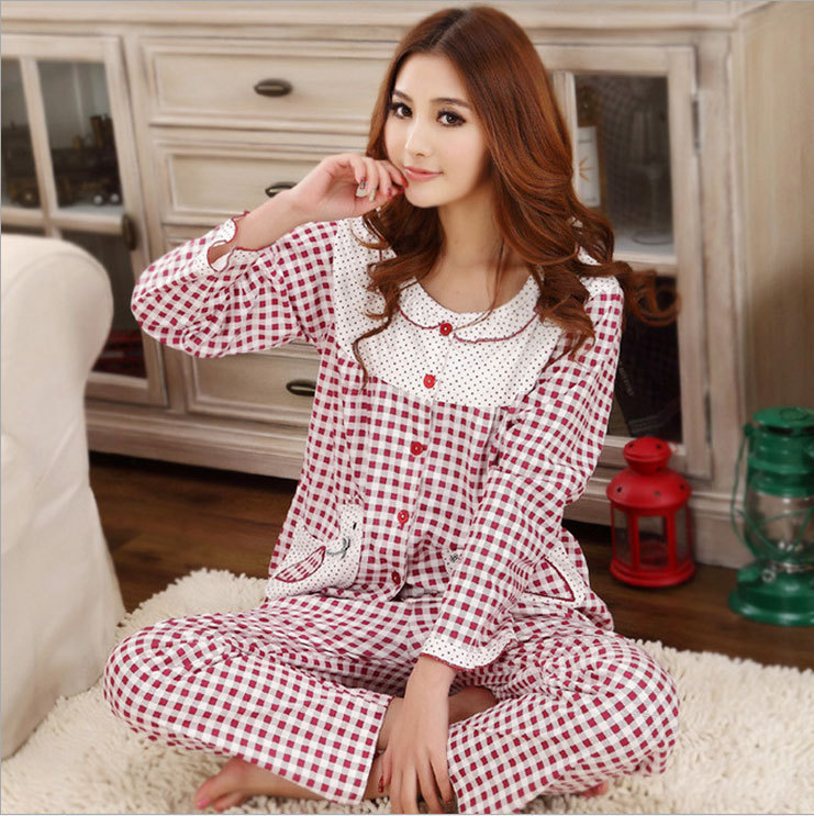 autumn spring new 2015 casual plaid long sleeve sleep wear pjs women pajamas sets cotton home clothing for sleep pijama vestido(China (Mainland))