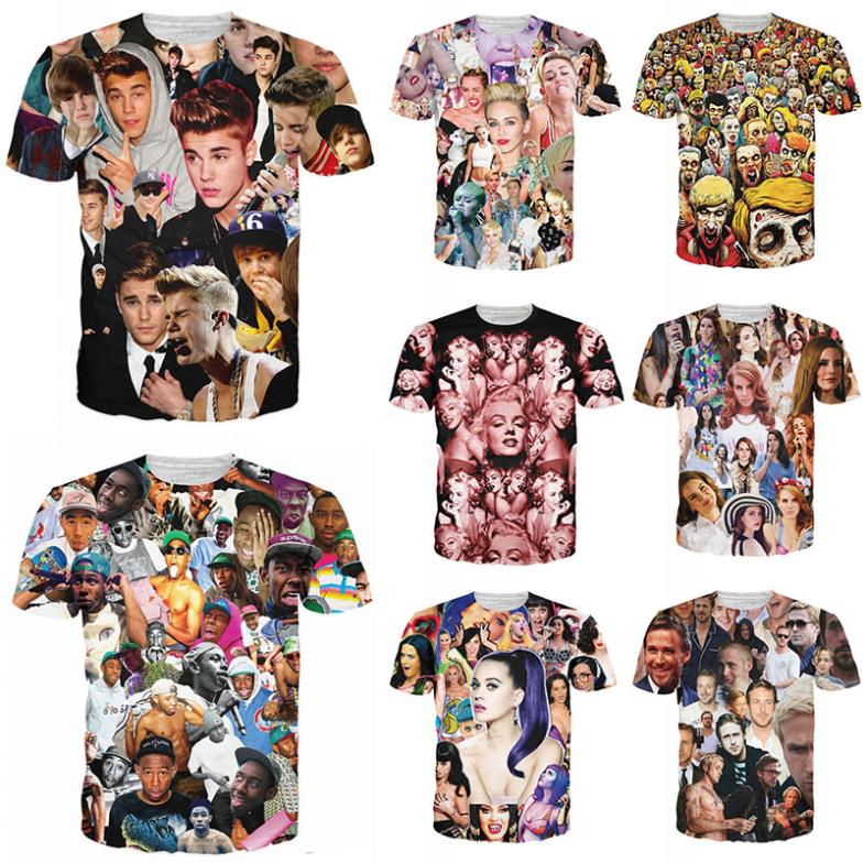 New T shirt Justin bieber/Miley cyrus/monroe/tyler the creator/Lana del rey/resident evil zombie 3D print T-shirt tshirt clothes(China (Mainland))
