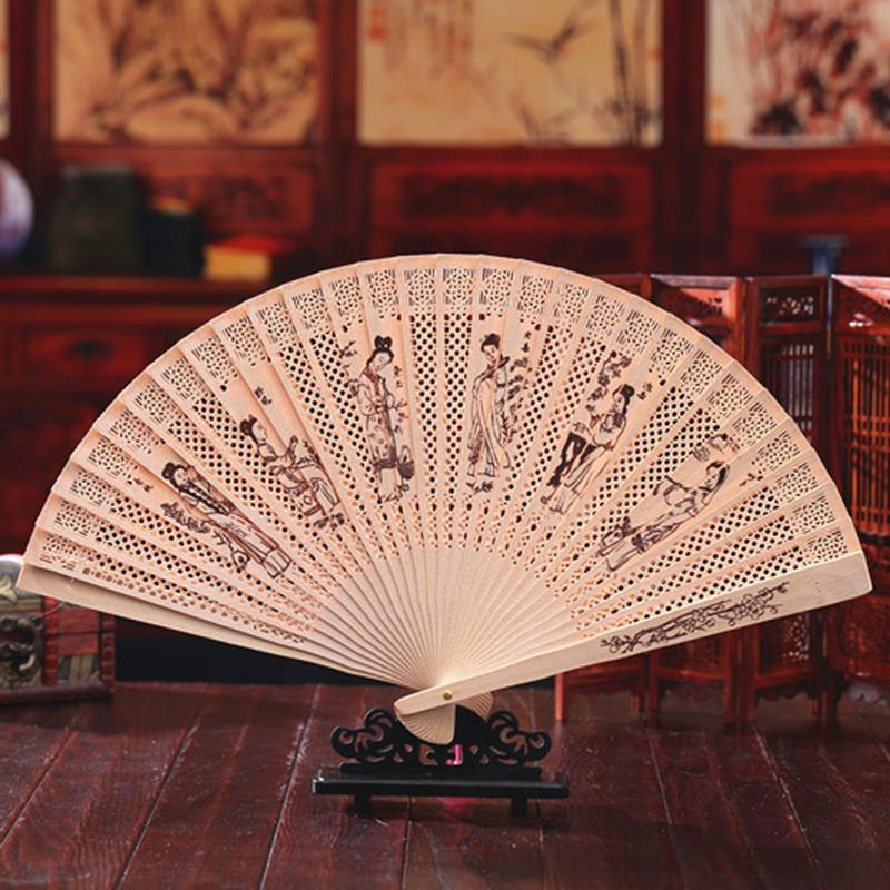 10pcs/lot Classical Chinese Style Folding Handfans Hollow Engraving Wooden Fans Wedding Party Favors H136(Hong Kong)