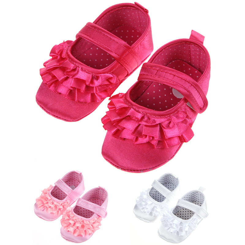 Newborn Baby Girl Shoes First Walkers Lovely Sneakers Infant Kids Girls Princess Shoes White Rose Red Pink(China (Mainland))