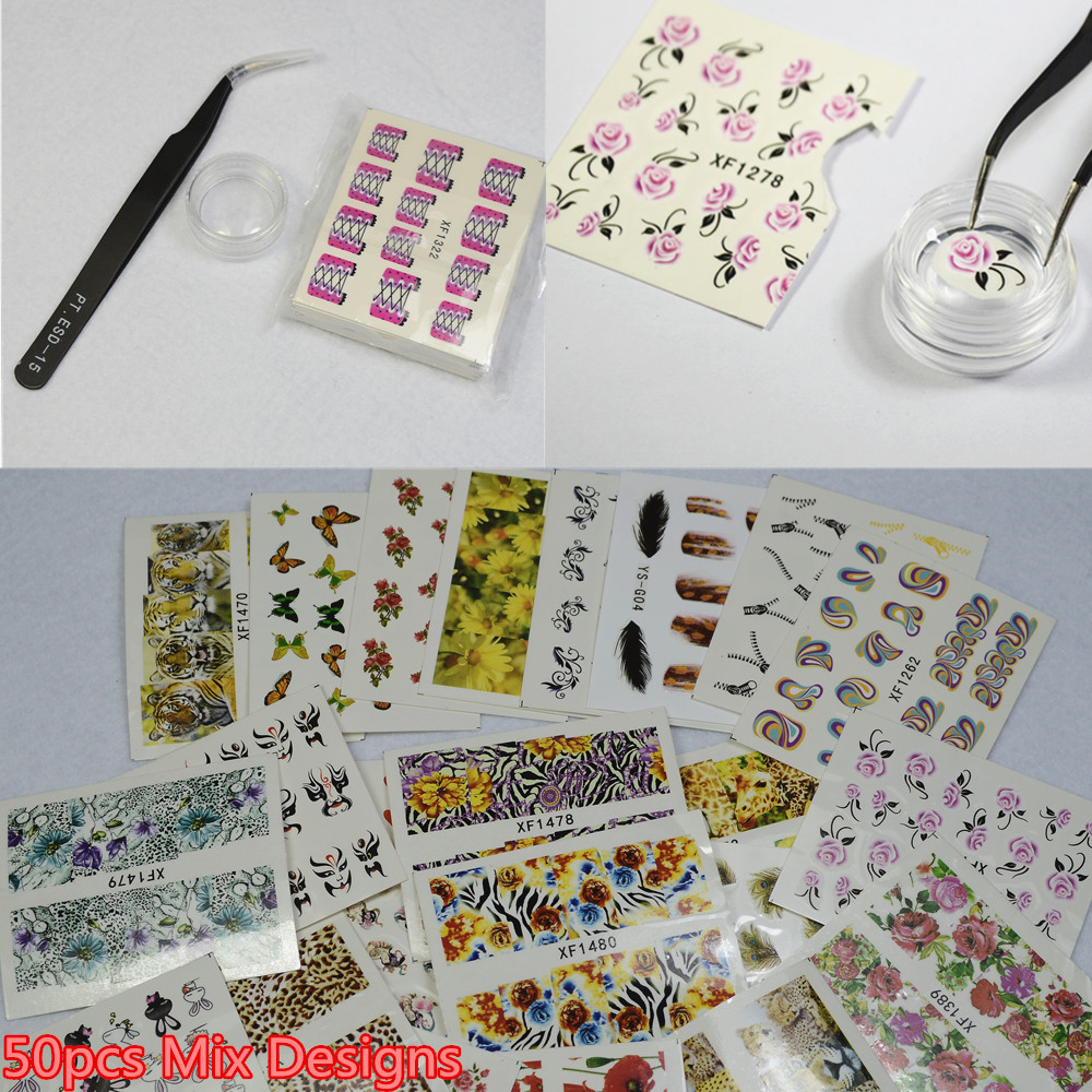 Professional Beauty Pretty Watermark Stickers Decals Wraps Tattoos Manicure Tools 5Mixed Stickers+Tweezers + Jar NC059 - Nail Art & Salon store