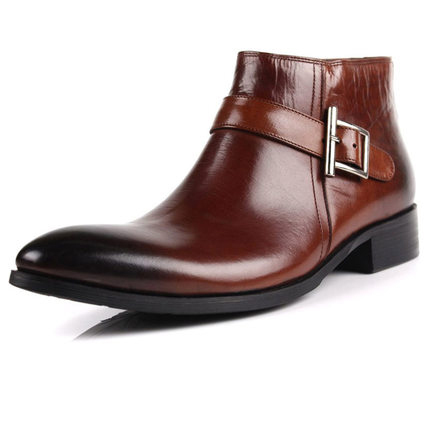 2014 Winter/autumn Men's Boots Genuine Leather Cowhide Pointed Toe