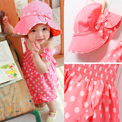 Baby Kids Girl Pink Dot Outfit Costume 3pcs Dress+Hat Set Clothes 0-36M XL025 Free shipping Drop shipping<br><br>Aliexpress