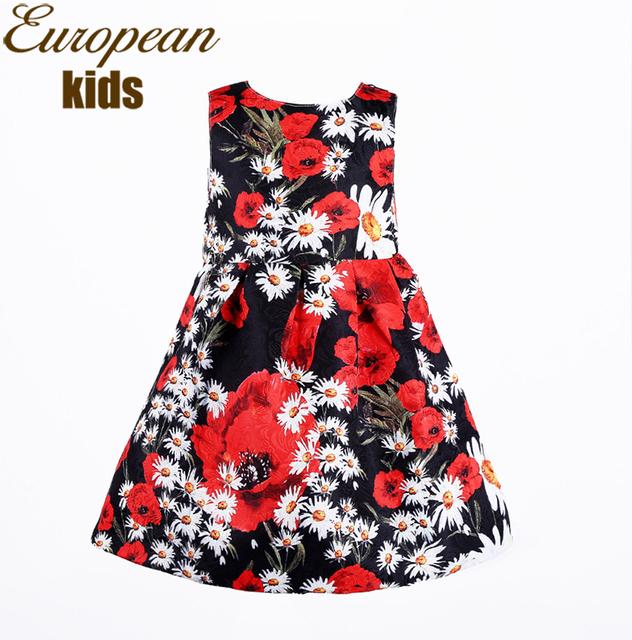 Предпродажная 2015 весна лето новых девушек одеваться фиолетовый глициния печать хлопок свободного покроя платье детская одежда платье принцессы девушки платья свадебные платья