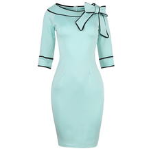 Buy Oxiuly Womens Summer Brief Elegant Slash-Neck Bow Pinup Casual Office Wear Business Party Sheath Work Pencil Dress for $15.85 in AliExpress store