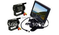 "24v 7"" LCD Monitor Car Rear View Kit +2 X IR Reversing 24V Camera For Bus Long Truck with 10m cable Free Shipping"