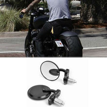 "MOTORCYCLE BLACK 3"" ROUND 7/8"" HANDLE BAR END MIRRORS CAFE RACER BOBBER CLUBMAN(China (Mainland))"
