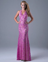 2016 New Design Elegant Long Straight Purple Lace Champagne Inside Evening Dresses Sexy Halter Backless Prom Party Gown R052414